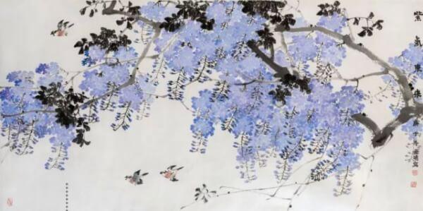 魏金修《紫气东来》123×246cm 纸本设色 2020