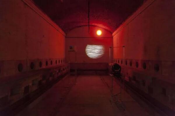 艾伦·博加纳,《嬗变》,2016,影像和LED装置,尺寸可变。